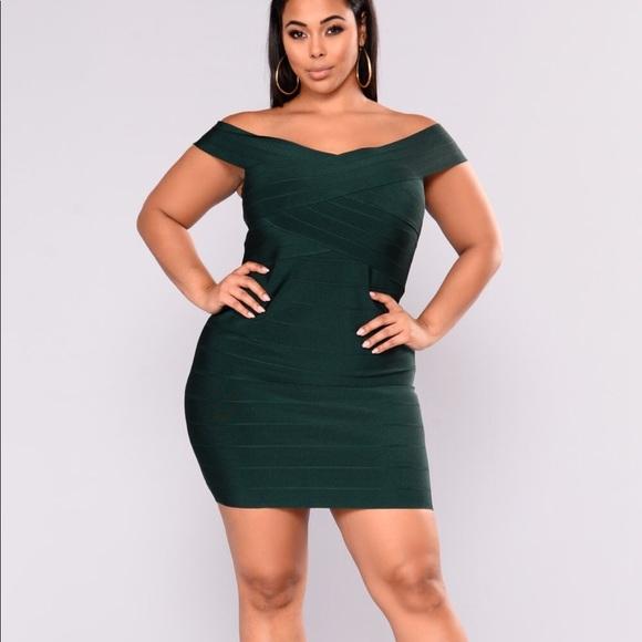 d2420a36df Fashion Nova Curve Bandage Dress - Hunter Green